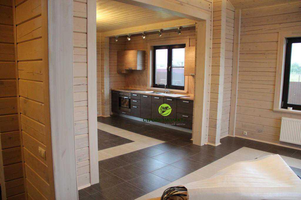 Интерьер внутренних помещений в доме из профилированного бруса, вид на кухню и гостиную